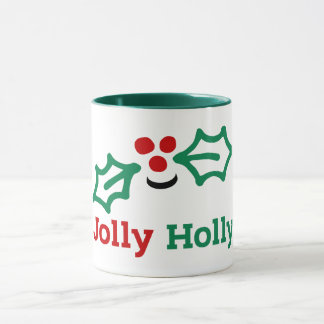 Smiling Jolly Holly Berries and Leaves Mug