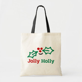 Smiling Jolly Holly Berries and Leaves Tote Bag