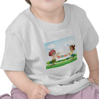 Smiling kids holding a signboard tshirts