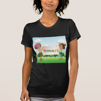 Smiling kids holding a signboard t shirt