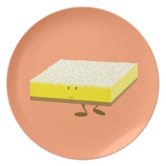 Smiling lemon bar character party plates