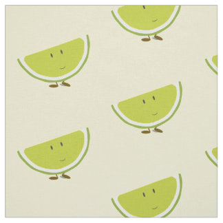 Smiling lime slice fabric