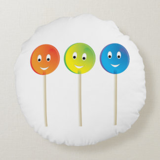 Smiling Lollipops Round Cushion