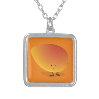 Smiling Mango Character Silver Plated Necklace