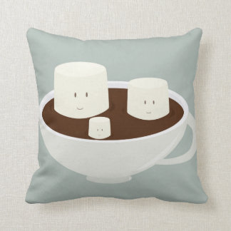Smiling marshmallows in hot chocolate cushion
