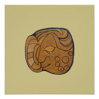 SMILING MAYAN MEDALLION- CREAM COLORED BACKGROUND POSTER