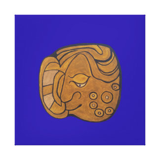 SMILING MAYAN MEDALLION- DARK BLUE BACKGROUND CANVAS PRINT