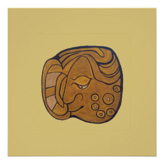 SMILING MAYAN MEDALLION- GOLD BACKGROUND POSTER