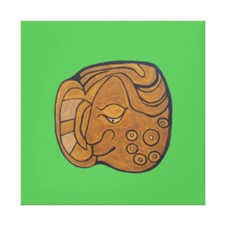 SMILING MAYAN MEDALLION- LIME GREEN BACKGROUND CANVAS PRINT