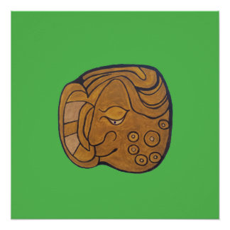 SMILING MAYAN MEDALLION- LIME GREEN BACKGROUND POSTER