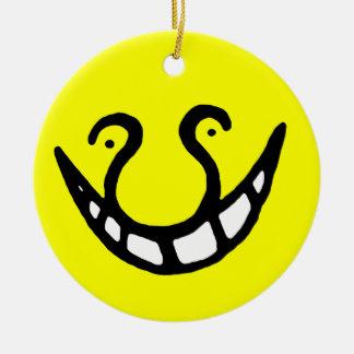 Smiling Meme  Yellow Moon Meme Round Ceramic Decoration