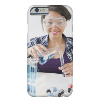 Smiling mixed race teenage girl conducting barely there iPhone 6 case
