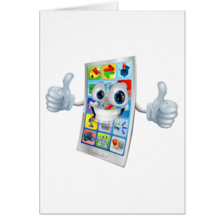 Smiling mobile phone mascot card