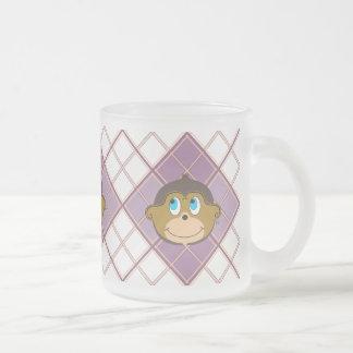 Smiling monkeys plaid pattern girly pink frosted glass mug