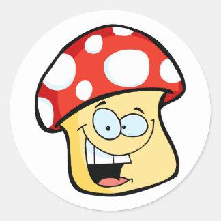Smiling Mushroom Cartoon Character Round Sticker