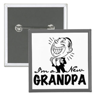 Smiling New Grandpa T-shirts and Gifts 15 Cm Square Badge