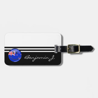 Smiling New Zealand Flag Bag Tag