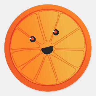 Smiling Orange Classic Round Sticker