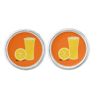 Smiling orange ring with orange juice cufflinks