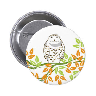 Smiling Owl 6 Cm Round Badge