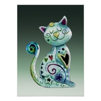 Smiling Painted Cat with Hearts Poster