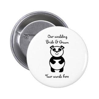 Smiling panda bear 6 cm round badge