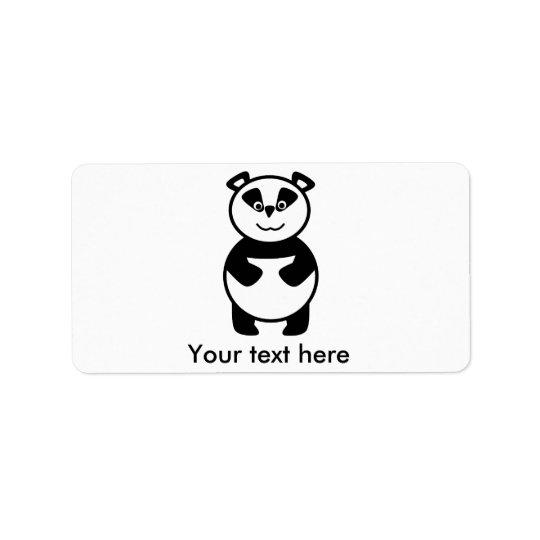 Smiling panda bear label