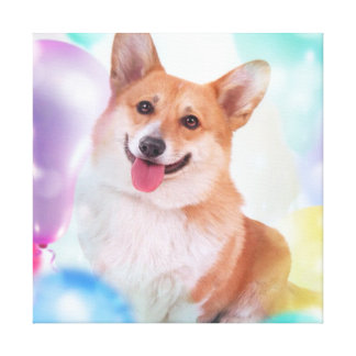 Smiling Party Corgi Gallery Wrapped Canvas