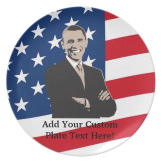 Smiling Patriotic Barack Obama Pop Art Dinner Plates