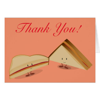 Smiling peanut butter and jelly sandwich thank you card