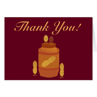 Smiling peanuts and peanut butter jar thank you card