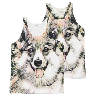 Smiling Pembroke Welsh Corgi All-Over Print Singlet