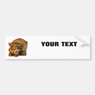"""Smiling Pig  Your Text """"Folio Extra Bold"""" on White Bumper Sticker"""