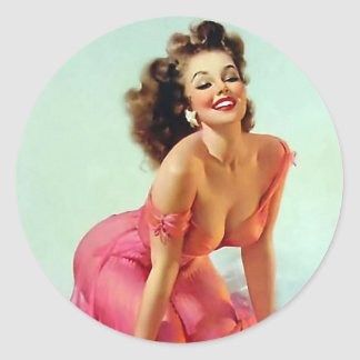 Smiling Pin Up Round Sticker