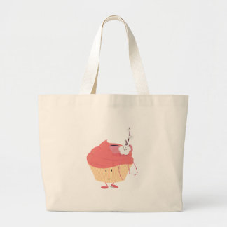 Smiling pink cupcake with flowered branch topping tote bag