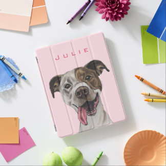 Smiling Pit Bull Dog Drawing iPad Cover