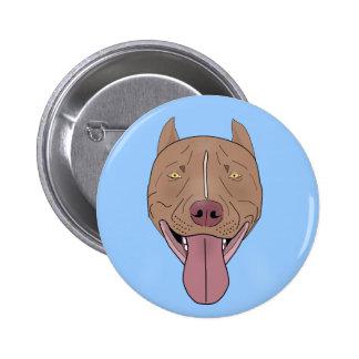 Smiling Pit Bull Portrait - Line Art Pinback Button