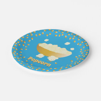 Smiling Popcorn and Bowl | Paper Plate
