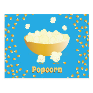 Smiling Popcorn and Bowl | Postcard