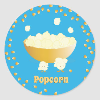 Smiling Popcorn and Bowl | Sticker