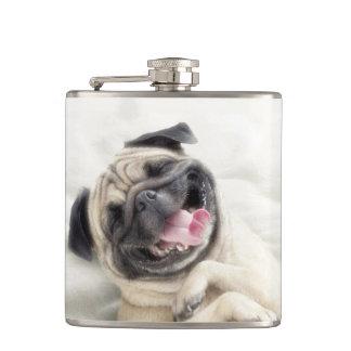 Smiling pug.Funny pug Flask