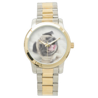 Smiling pug.Funny pug Wristwatches