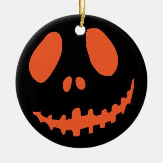 Smiling Pumpkin Face Round Ceramic Decoration