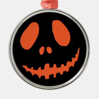 Smiling Pumpkin Face Silver-Colored Round Decoration