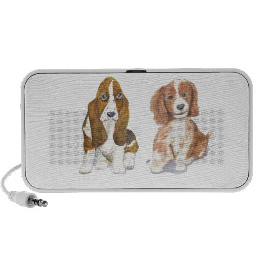 Smiling Puppy, add text, name. Travelling Speakers