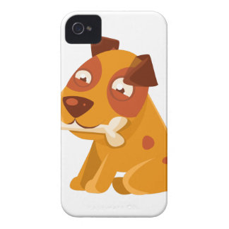Smiling Puppy Holding A Bone In The Mouth iPhone 4 Covers