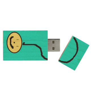 Smiling Question Mark Emoji USB, Art by Kids :) Wood USB 2.0 Flash Drive