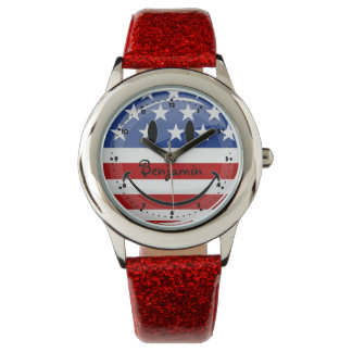 Smiling Round American Flag Watch