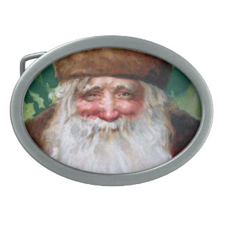 Smiling Santa Claus Oval Belt Buckle