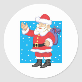 Smiling Santa Claus Round Sticker